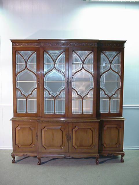 Solid Mahogany Ball and Claw Breakfront China Cabinet