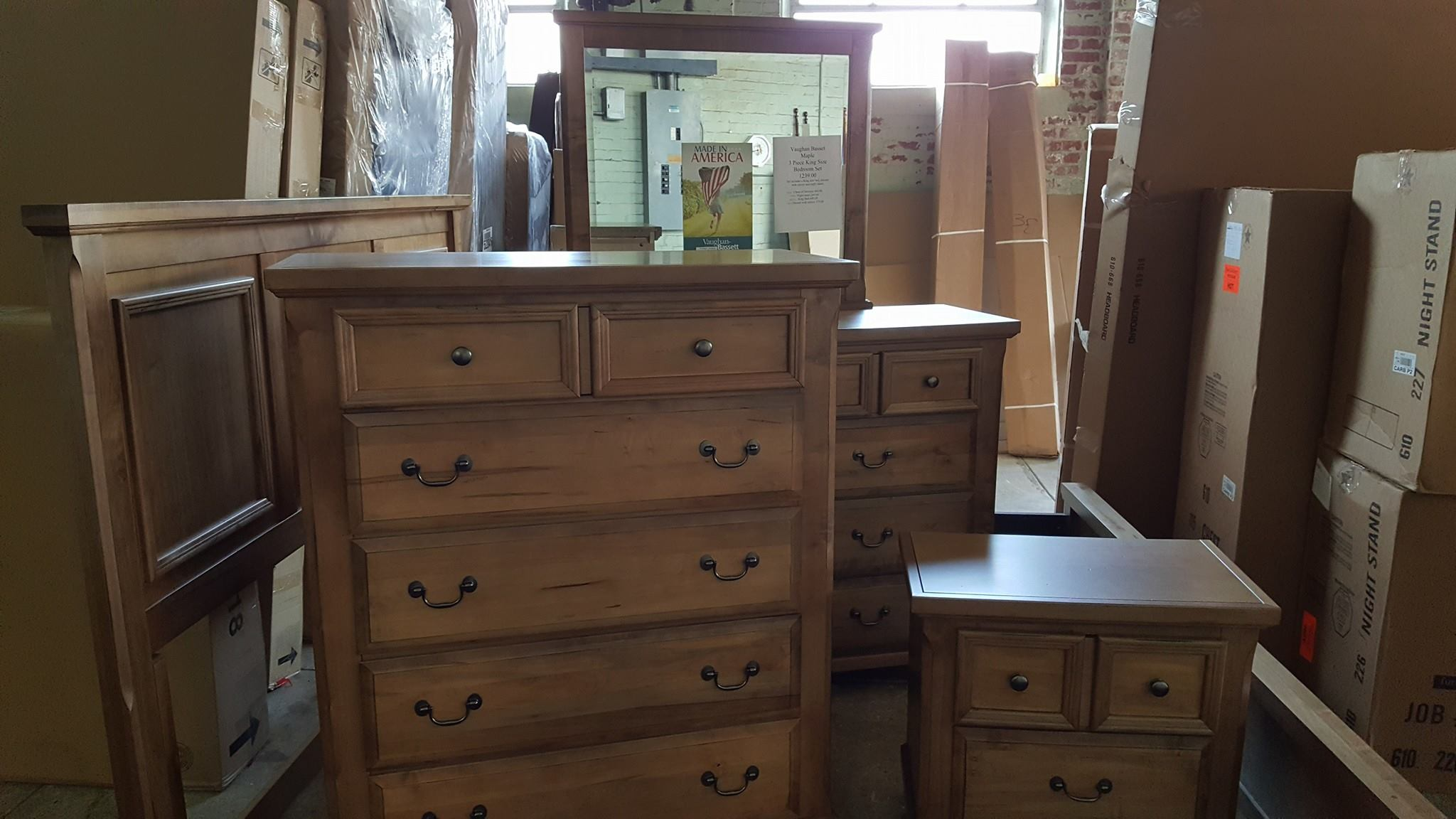 New Vaughan Bassett Maple King Size Bed, Dresser with mirror, and night stand