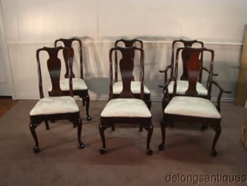 Stickley Set of 6 Solid Mahogany Queen Anne Dining Chairs