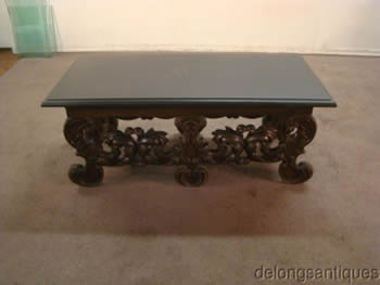 Early 1900's Slat Top Fancy Carved Coffee Table