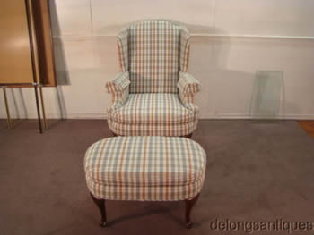 Henredon Queen Anne Wing-Back Chair & Stool