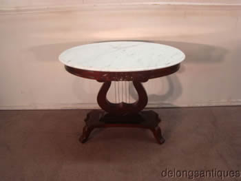 Kimball Marble-Top Victorian Style Lamp Table