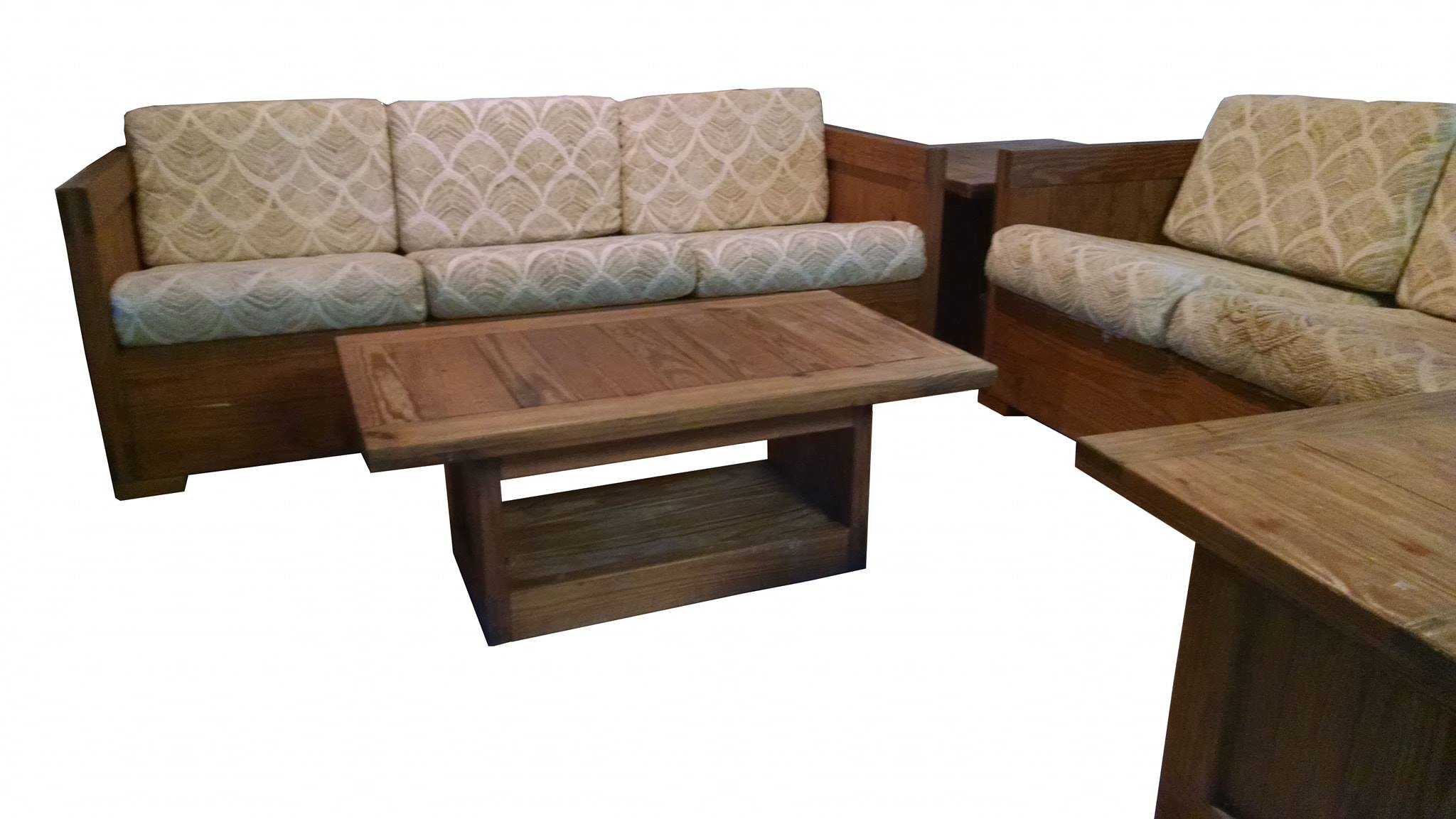 Wood sofa, love seat, sofa table & end tables