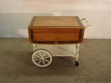 Ethan Allen Solid Maple Paint Decorated Tea Cart