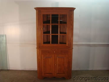Solid Oak Custom-Made Corner China Cabinet
